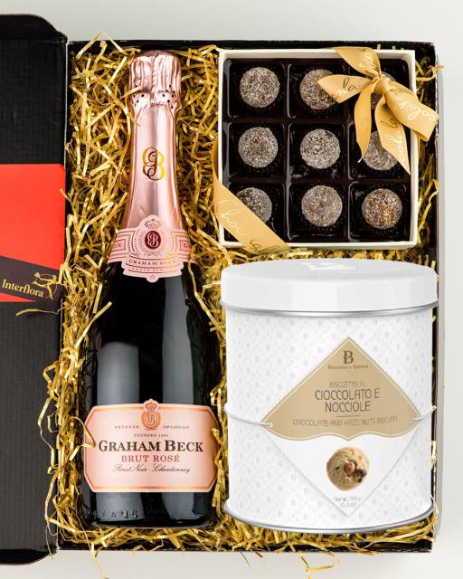 Graham Beck Rose sparkling wine, champagne chocolates and gourmet cookies
