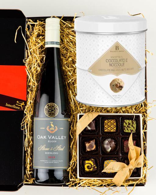 Oak Valley Riesling wine, chocolates and gourmet cookies