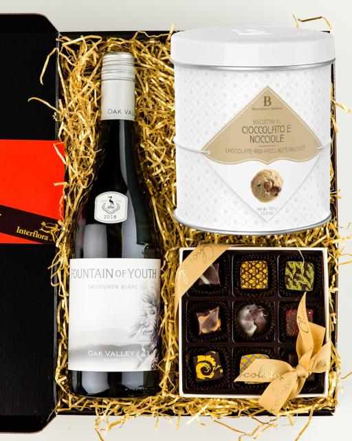Oak Valley Fountain of Youth white wine, chocolates and gourmet cookies