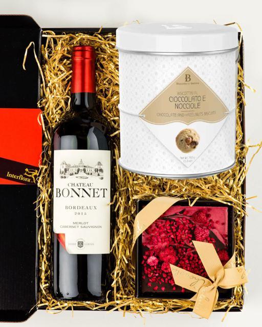 Chateau Bonnet AOC Bordeaux vein, vaarika ja tumeda šokolaadi tahvel, gurmeeküpsised