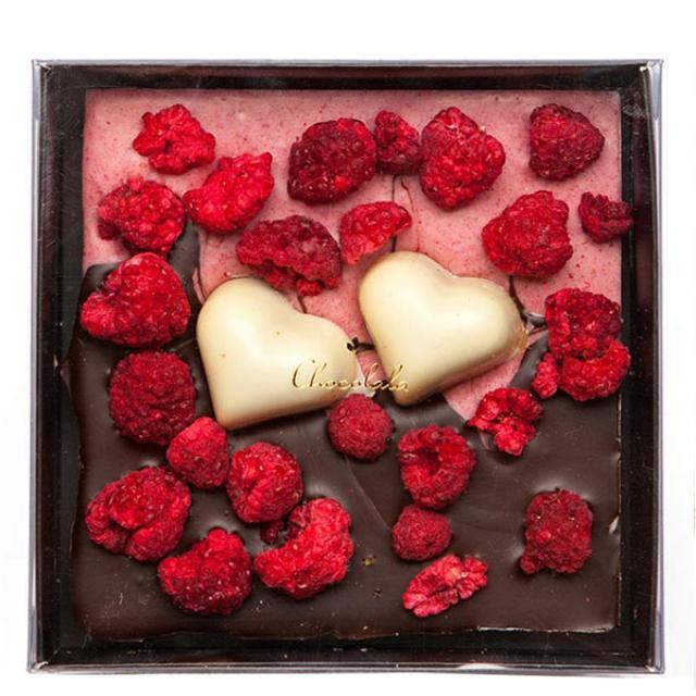 Dark chocolate bar with raspberries